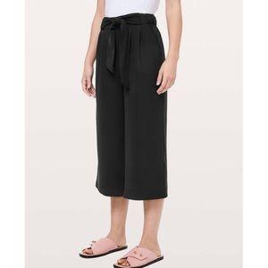 Lululemon Black Noir Crop Tie Waist Wide Leg Pants